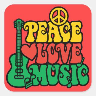 Musique d'amour de paix de reggae sticker carré