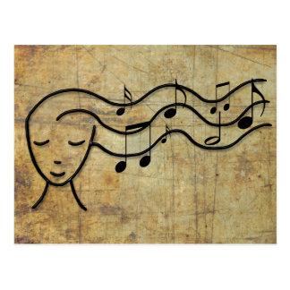musique dans les cheveux carte postale