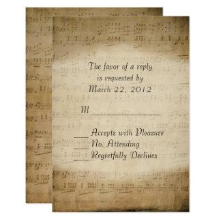 Musique de feuille RSVP pour des invitations