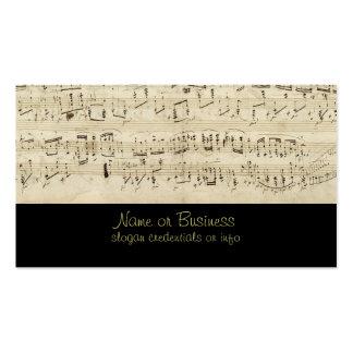Musique de feuille sur le parchemin manuscrit en carte de visite standard