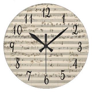 Musique de feuille vintage avec des nombres grande horloge ronde