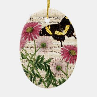 musique de papillon de marguerite ornement ovale en céramique