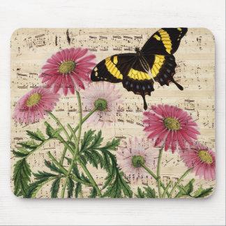 musique de papillon de marguerite tapis de souris