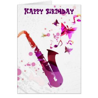 Musique de saxophone et anniversaire mignons de carte de vœux