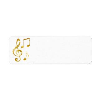 musique d'or élégante de clef étiquette d'adresse retour