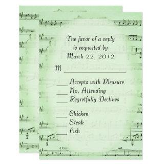 Musique épousant RSVP vert avec le menu Carton D'invitation 8,89 Cm X 12,70 Cm