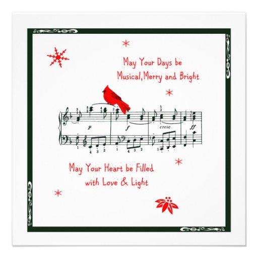 Musique et carte de Noël cardinale rouge d'oiseau Faire-part