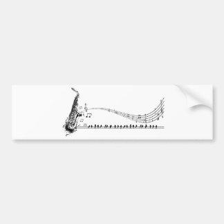 Musique et merles de saxo de ~ de saxophone autocollant de voiture