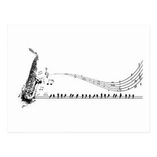 Musique et merles de saxo de ~ de saxophone carte postale
