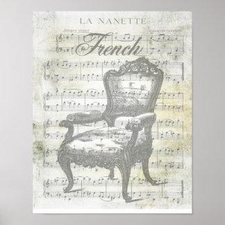 Musique française chic minable et chaise poster
