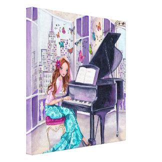 Musique New York - toile de papillon de piano