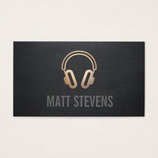 Musique noire du DJ d'écouteurs frais d'or Cartes De Visite