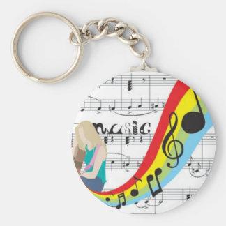 Musique notes couleurs porte-clé rond