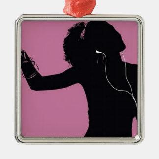 musique ornement carré argenté