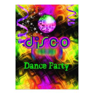 Musique psychédélique de soirée dansante de disco carton d'invitation  16,51 cm x 22,22 cm