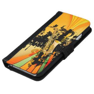 Musique, saxophone coque avec portefeuille pour iPhone 6