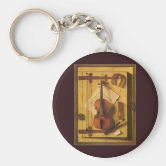 Musique toujours Harnett, cru de violon de la vie Porte-clé Rond