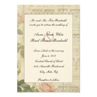 Musique victorienne et faire-part de mariage rose