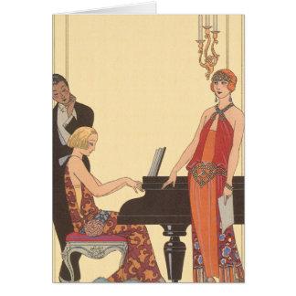 Musique vintage, chanteur de musicien de pianiste carte de vœux