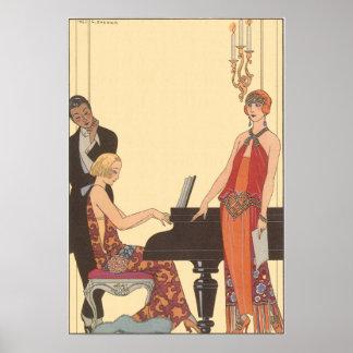 Musique vintage, chanteur de musicien de pianiste posters