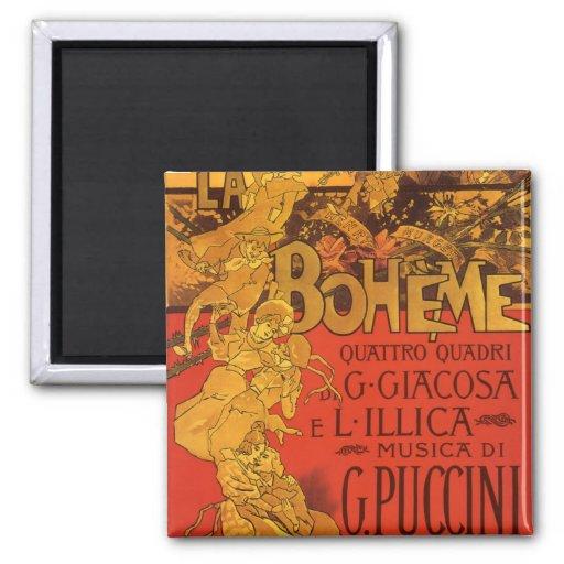Musique vintage de Nouveau d'art ; Opéra de Boheme Magnets Pour Réfrigérateur