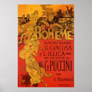 Musique vintage de Nouveau d'art, opéra de Boheme Posters