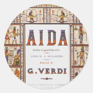 Musique vintage d'opéra, Egyptien Aida par Verdi Sticker Rond