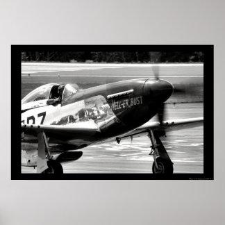 Mustang de P-51D - Enfer-heu buste Posters