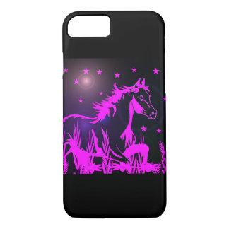 Mustang rose sur l'arrière - plan noir coque iPhone 7