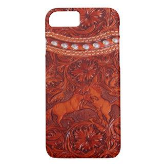 mustangs en cuir avec le cas perlant argenté de coque iPhone 7