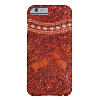 mustangs en cuir avec le cas perlant argenté de l' coque barely there iPhone 6