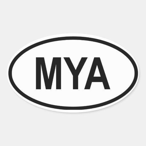"Myanmar ""MYA "" Stickers Ovales"