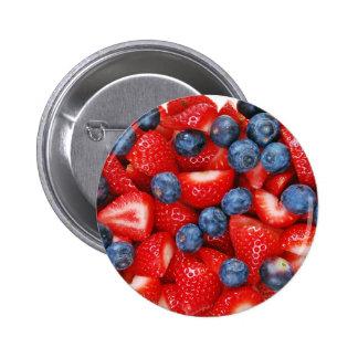 Myrtilles et fraises fraîches badges