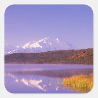 Na, Etats-Unis, Alaska, Denali NP, lac wonder, Mt. Sticker Carré