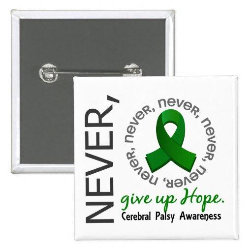 N'abandonnez jamais l'infirmité motrice cérébrale  badge avec épingle