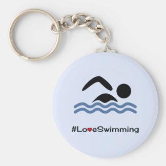 Nageur de pictogramme de légende de natation porte-clé rond