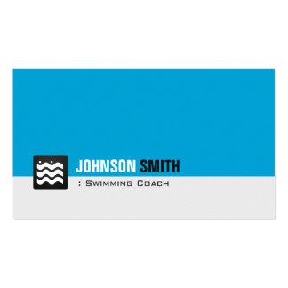Nageur d'entraîneur de natation - bleu personnel d modèles de cartes de visite