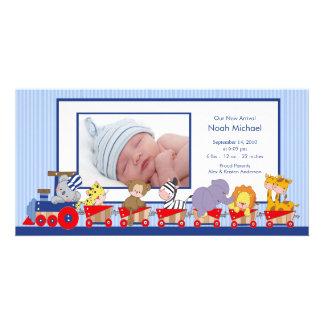 Naissance Annoucement de bébé de train d'animaux d Cartes De Vœux Avec Photo