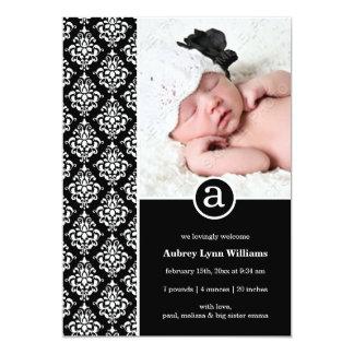 Naissance blanche noire de photo de fille de carton d'invitation  12,7 cm x 17,78 cm
