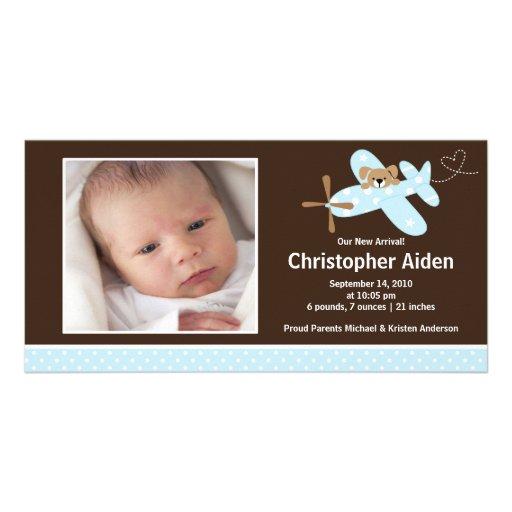 Naissance bleue Annoucement de bébé d'avion Photocartes Personnalisées