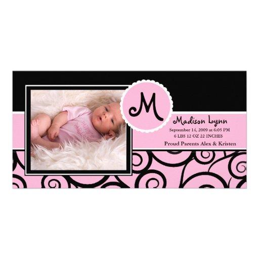 Naissance de bébé de remous de rose et de noir photocarte customisée