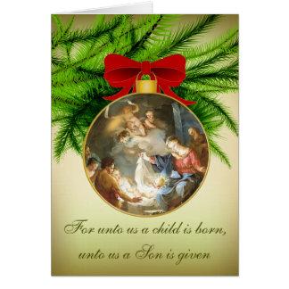 Naissance de Jésus de nativité d'ornement de Noël Carte De Vœux