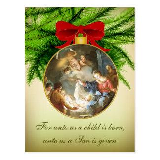Naissance de Jésus de nativité d'ornement de Noël Carte Postale
