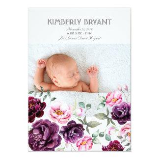 Naissance douce de bébé d'aquarelle florale carton d'invitation  12,7 cm x 17,78 cm