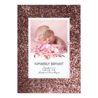 Naissance douce florale de bébé de scintillement carton d'invitation  12,7 cm x 17,78 cm