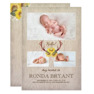 Naissance en bois rustique de tournesol et de carton d'invitation  12,7 cm x 17,78 cm