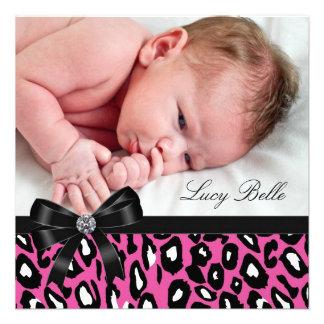 Naissance noire rose de photo de bébé de léopard cartons d'invitation
