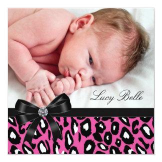 Naissance noire rose de photo de bébé de léopard carton d'invitation  13,33 cm