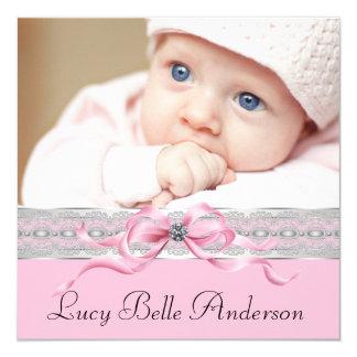 Naissance noire rose de photo de bébé de perles invitations