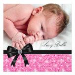 Naissance noire rose de photo de bébé cartons d'invitation